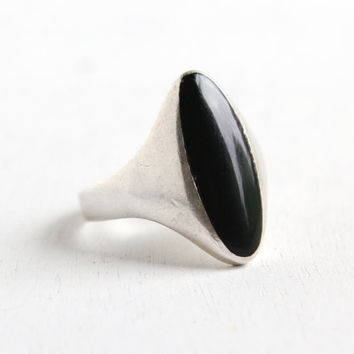 Vintage Sterling Silver Onyx Ring - Retro Size 7 Chunky Black Stone Men's or Women's Jewelry