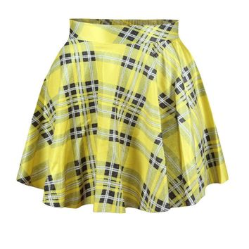 Casual Classical Elastic Waist Plaid Flared Mini Skirt