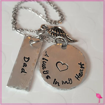 Always in My Heart Bling Chicks Memorial Necklace
