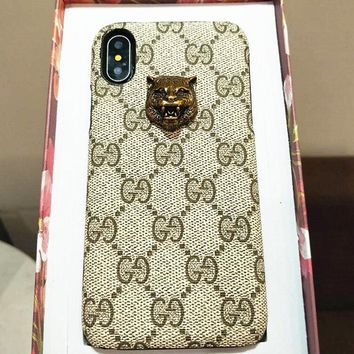 GUCCI Stylish Cute Print With Stick The Fox Head Tiger Head iPhone Phone Cover Case For iphone 6 6s 6plus 6s-plus 7 7plus + Best Gift