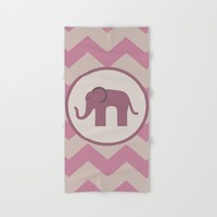 Baby Pink Chevron Elephant Hand & Bath Towel by UMe Images