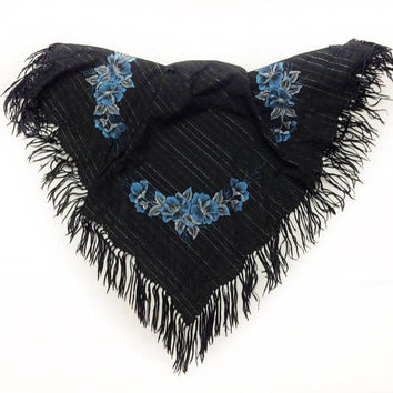 Blue Floral on Black scarf, Hand Painted Floral Shawl, Birthday gift for Sister in law, Goth Wedding Black Scarf, Anniversary Gift for Wife