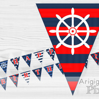 Nautical Happy Birthday Party Banner, printable, PDF files, blue, white, red, striped, polka dot, anchor, rudder image, instant download