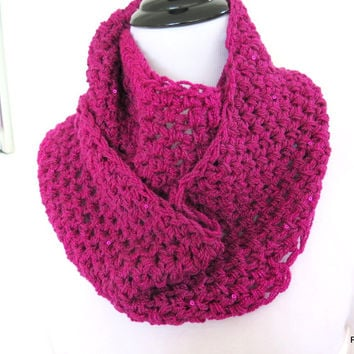 Fushia infinity scarf with sequins,Hand crochet loop scarf, gift for her