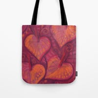 Hearty Flowers, anthurium, funky floral, pink, red & orange Tote Bag by Clipso-Callipso