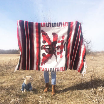 Vintage 1970's EAGLE AND SNAKE Mexican Coat Of Arms Blanket || Native American Aztec Navajo Throw ||