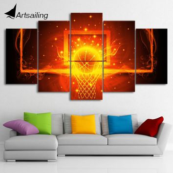 HD Printed 5 Piece Canvas Art Fire Basketball Circle Backboard Painting