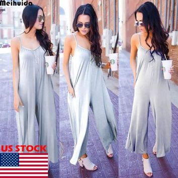 Women Jumpsuit Romper Sleeveless Clubwear Outfit Women Solid Loose Halter Wide Jumpsuits One Piece Clothing