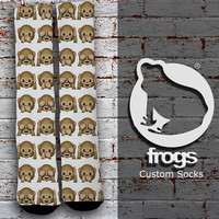 White Monkey Emoji Elite Socks, Custom socks, Personalized socks