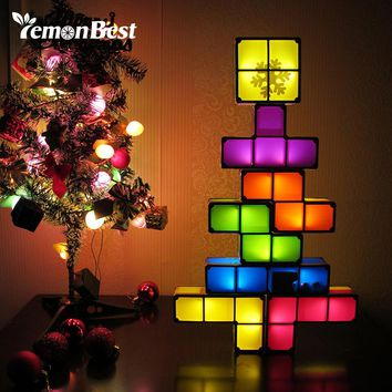DIY Constructible Night Light Desk Lamp Creative Constructible Retro Game Style Three-dimensional Stackable LED Light
