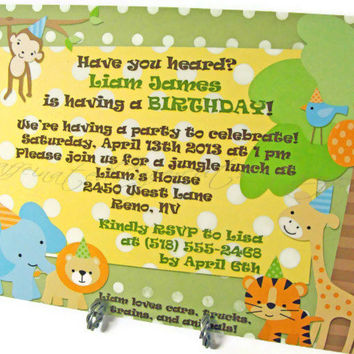 Jungle Animals Printable Party Invitation for Birthdays, Baby Showers Elephant Lion Tiger Giraffe Monkey