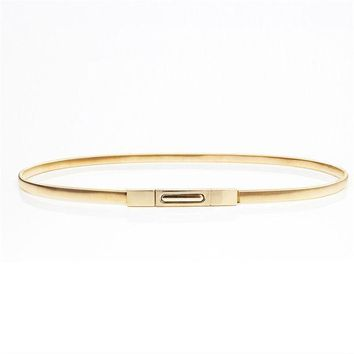 2016 Hot Sales New Women Metal Belt Chain Fashion Metal Buckle Thin Elastic Waist Gold/sliver Women Skinny Belt Chain  Bl02 1