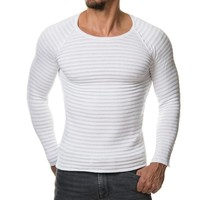 2018 New Men Knitted Sweater Autumn Winter Fashion Brand Clothing Men's Striped Sweaters Solid Color Slim Fit  Men Pullover