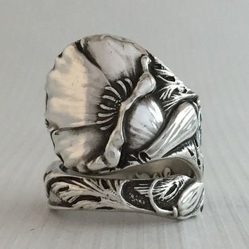 Size 7.5 Vintage Sterling Silver California Poppy Spoon Ring