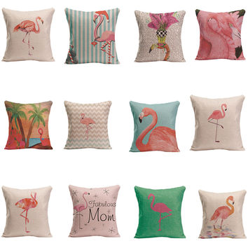 Cotton Linen Throw Pillow Case Merry Christmas Pink Flamingo Cushion Cover Animal Home Decorative For Bed Sofa Living Room