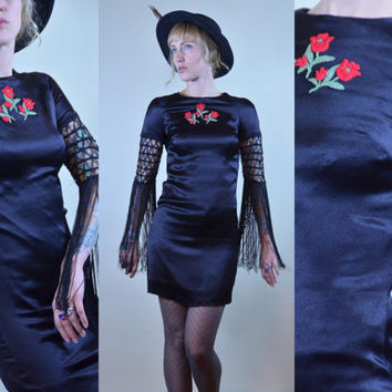 70s Young Edwardian Crochet Fringe Sleeve Black Satin Min Dress RARE