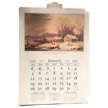 Vintage 1975 Wall Calendar Traveler's Insurance Currier and Ives Prints Wonderful Condition Frameable Art Monthly Calendar