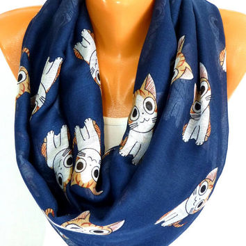 Scarf, Cat print Scarf, Scarves, Shawl, Cute Cat Printed Scarf, infinity scarves, Womens Accessories, Lightweight Summer Scarf, Gift for her