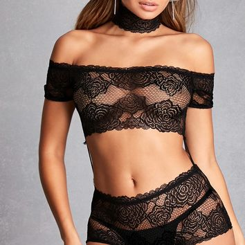 Lace Cutout Choker Teddy