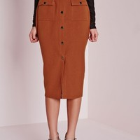 Missguided - Utility Pocket Detail Midi Skirt Rust