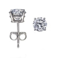 14K White Gold, Round, Diamond Stud Earrings (1/2 ctw, I-J Color, I1-I2 Clarity)