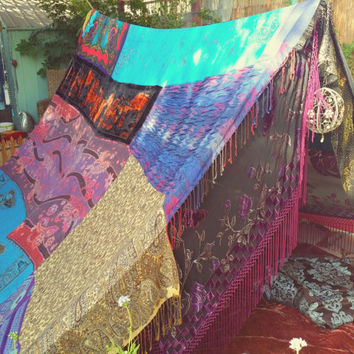 Witchy Woman Boho tent teepee MADE TO ORDER glamping silk hippy scarves hippie patchwork canopy Wedding Decor photo prop backdrop Bohemian