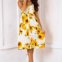 The Tide Is High Dress - Sunflowers Print - Stelly