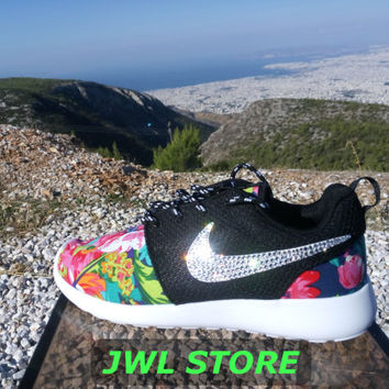 wmns custom nike roshe run shoes with fabric floral dark blue color sneakers blinged with swarovski rhinestones athletic shoes