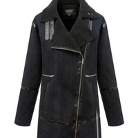 Split Joint PU Leather Black Coat