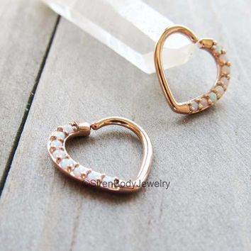 "Daith heart jewelry right ear 16g rose gold white opals helix piercing hoop earlobe hanger 3/8"" easy bend"
