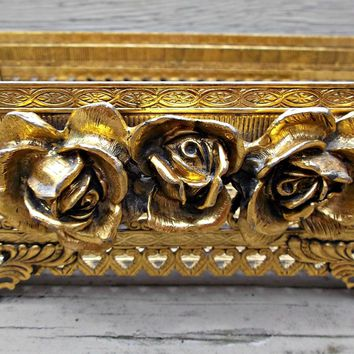 A Vintage Gold Tone Metal Tissue Napkin or Letter Holder with Roses