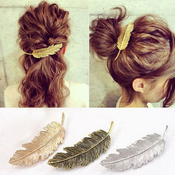 2016 New Hot Fashion Vintage Gold Retro Metal Feather Big Hairgrips Hair Clip For Women Accessories Jewelry