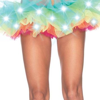 DCCKLP2 LED Light Up Rainbow Neon Tutu in MULTICOLOR