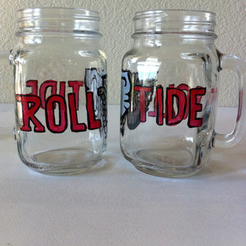 Hand Painted Roll Tide Mason Jar with Handle
