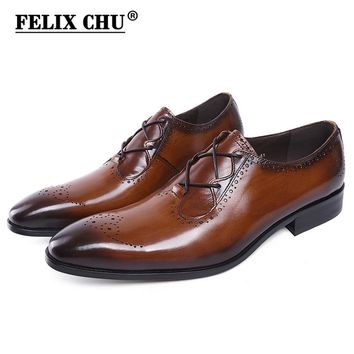 New Design Luxury Genuine Leather Lace Up Modern Men Brogue Shoes Party Wedding Suit Formal Footwear Male Dress Shoes