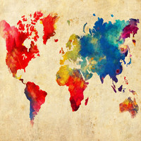 World Map Absract - Print Poster