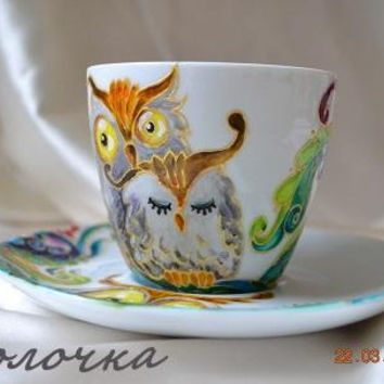 "Hand painted cup ""Owls"",hand painted picture,Kitchen and Dining,Gift for Mom,Owl ornament mug,paint on ceramics,tea cup,owl cup, owl design."