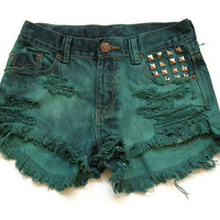 High waisted green shorts S by deathdiscolovesyou on Etsy