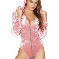 Zip up Velvet Long Sleeved Hoodie Bodysuit