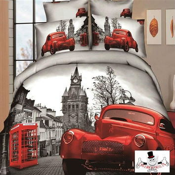 3D Red Dodge Car Vintage Bedding Set and Quilt Cover