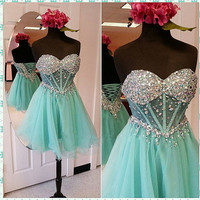 short Prom Dress,charming Prom Dress,blue Prom Dress,homecoming dress,party dress,PD204