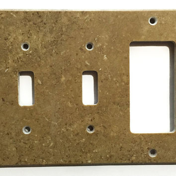 Noce Travertine Double Toggle Rocker Switch Wall Plate / Switch Plate / Cover - Honed