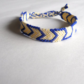 Handmade Bracelet - Light Yellow and Dark Blue Arrows