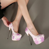 Flower Pattern Brand Designer Platform Stiletto Shoes Heels Pumps