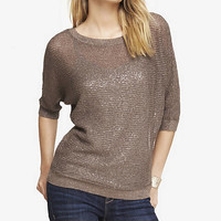 METALLIC MARLED OPEN STITCH DOLMAN SWEATER from EXPRESS