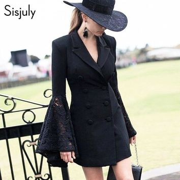 Trendy Sisjuly vintage jacket coat flare sleeve women slim black coat autumn jacket for girls button turn -down collar chic outerwear AT_94_13