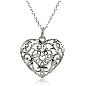 Sterling Silver High Polished Filigree Heart Necklace