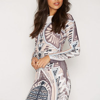 Printed Round Neck Dress, NLY Trend