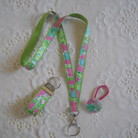 Preppy Pink Green Lilly Pulitzer Fabric Lanyard Set with Lanyard Key Chain Ponytail Holder
