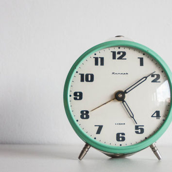 Mint Green Alarm Clock, Russian Desk Clock, Soviet Union Home Decor, Office Decor Clock, Modern
